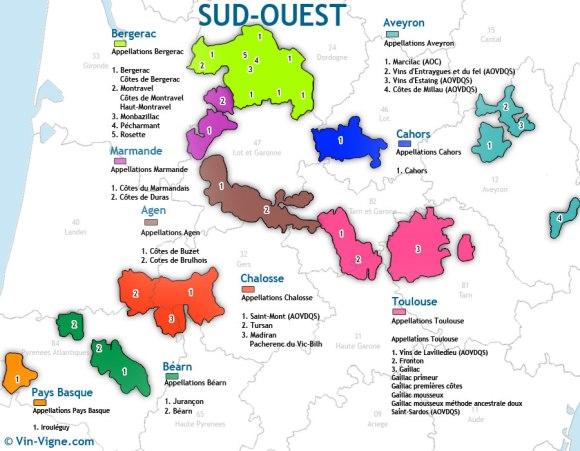 Carte Sud Ouest